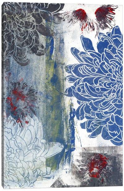 Blue & Black Dahlia: Linoprint Canvas Art Print
