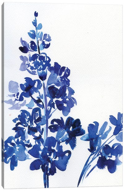 Blue Snapdragon - Watercolor Flower Canvas Art Print