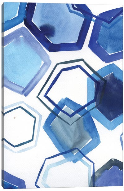 Blue Geometric Shapes - Abstract Pattern Canvas Art Print