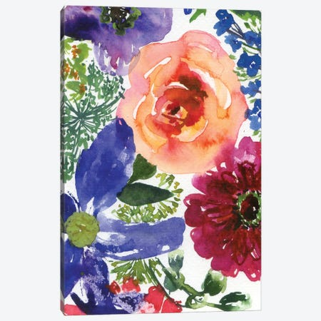 Clematis And Roses (Abstract) Canvas Print #AKS37} by Andrea Kosar Art Print