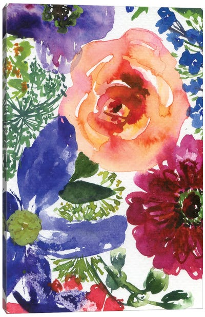 Clematis And Roses (Abstract) Canvas Art Print