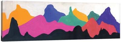 Colorful Mountains: Orange, Pink, Blue, Green Canvas Art Print