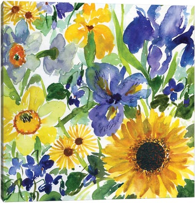 Daffodil, Iris Nad Sunflower Canvas Art Print