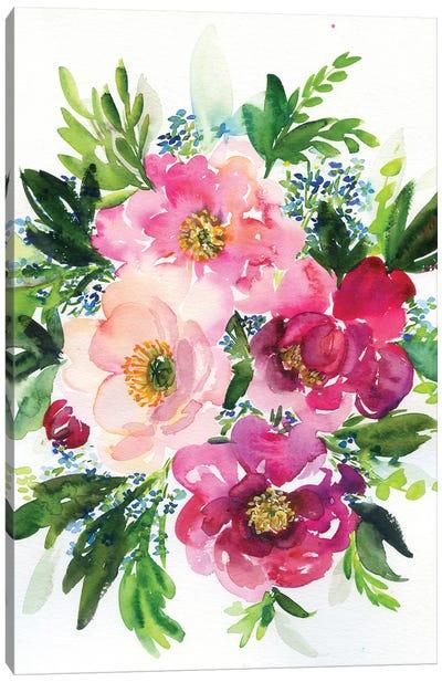 5 Pink Peonies In Watercolor Canvas Art Print