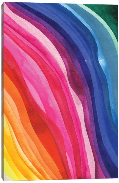 Colorful Waves: Pink And Blue Canvas Art Print