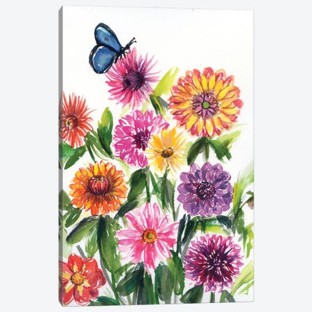 Dahlias And Chrysanthemums With Butterfly Canvas Print #AKS55} by Andrea Kosar Canvas Print