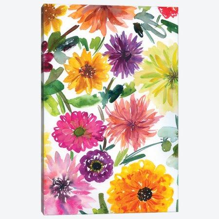 Dahlias And Chrysanthemums Canvas Print #AKS56} by Andrea Kosar Art Print