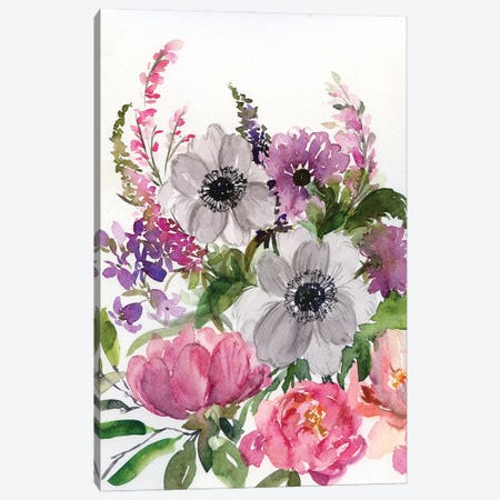 Faded Flowers: Peony, Anemone Canvas Print #AKS58} by Andrea Kosar Canvas Wall Art