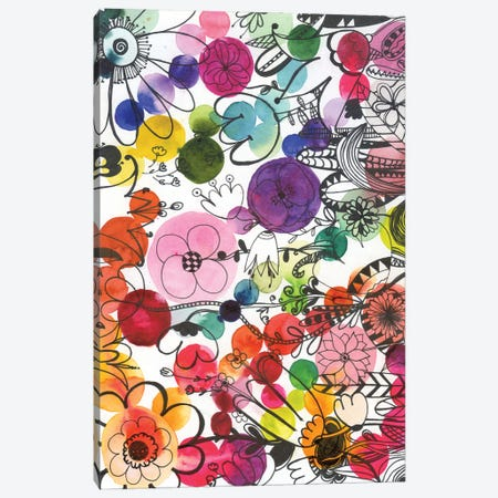 Fairy Ink Flowers Canvas Print #AKS86} by Andrea Kosar Canvas Wall Art