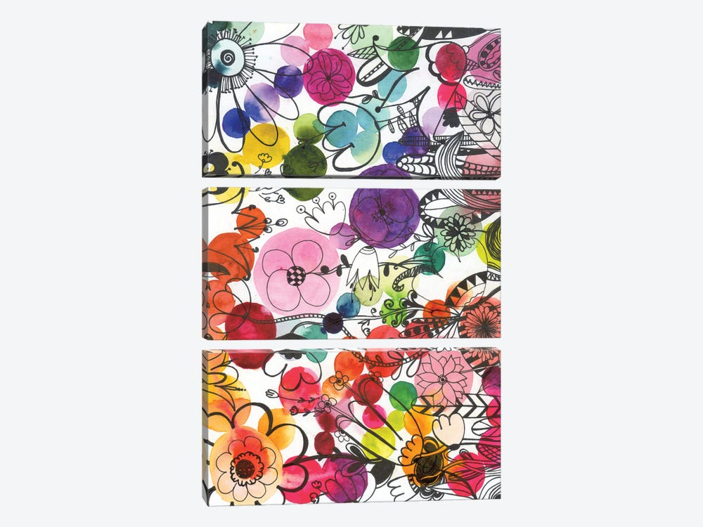 Fairy Ink Flowers by Andrea Kosar 3-piece Canvas Wall Art