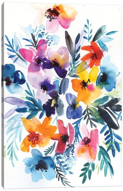 Abstractflowers In Blue, Yellow, Purple Canvas Art Print