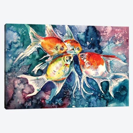 Colorful Fish Canvas Print #AKV105} by Anna Brigitta Kovacs Canvas Wall Art