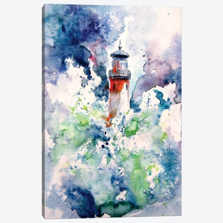 Lighthouse At Storm Canvas Print #AKV106} by Anna Brigitta Kovacs Canvas Art