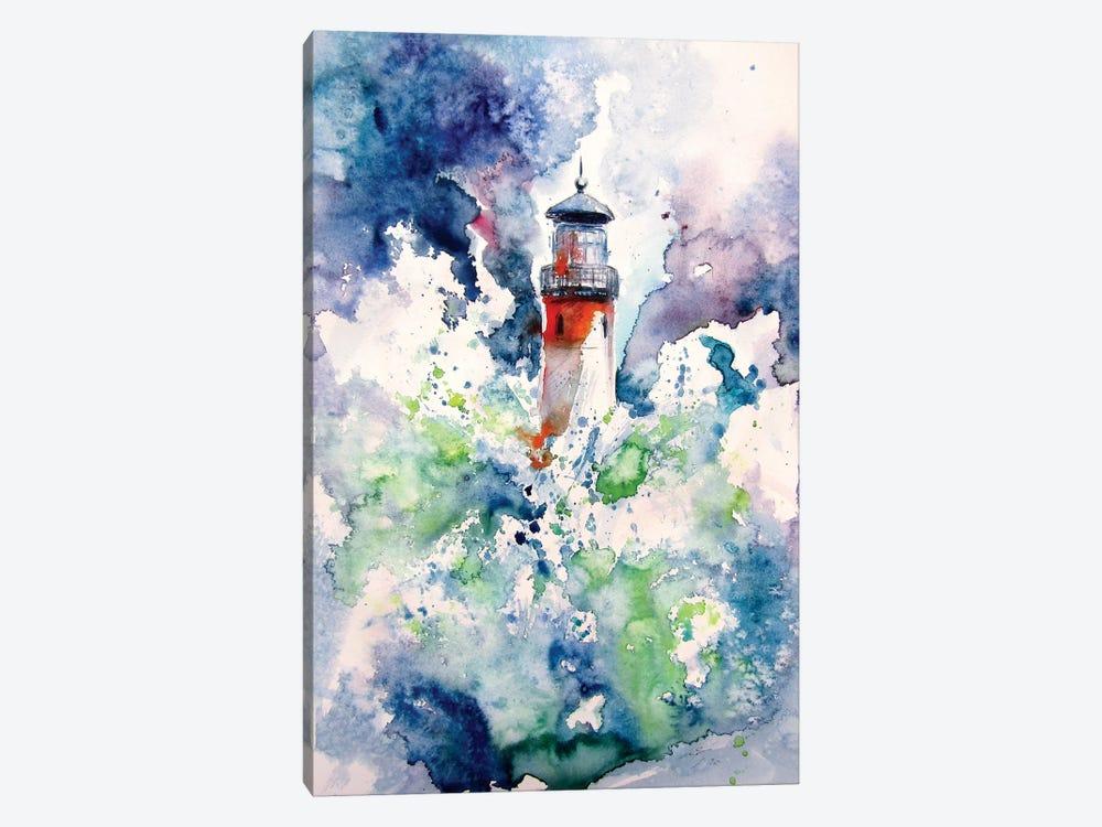 Lighthouse At Storm by Anna Brigitta Kovacs 1-piece Canvas Art Print