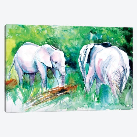 Elephants Meeting Canvas Print #AKV119} by Anna Brigitta Kovacs Canvas Artwork