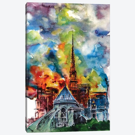 Burning Notre Dame Canvas Print #AKV11} by Anna Brigitta Kovacs Canvas Print
