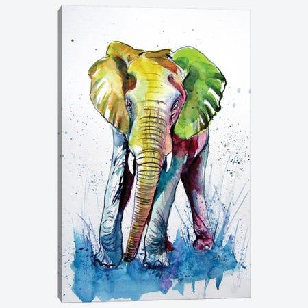 Happy Elephant Canvas Print #AKV130} by Anna Brigitta Kovacs Canvas Artwork