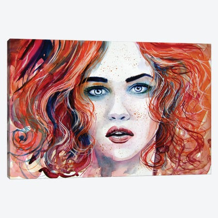 Red Girl Canvas Print #AKV132} by Anna Brigitta Kovacs Canvas Artwork