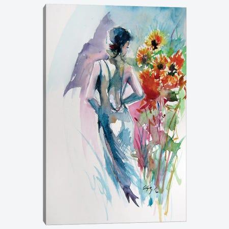 Girl With Sunflowers Canvas Print #AKV134} by Anna Brigitta Kovacs Canvas Art Print