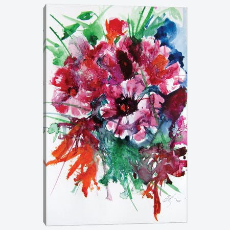 Flowers In The Garden Canvas Print #AKV136} by Anna Brigitta Kovacs Canvas Print