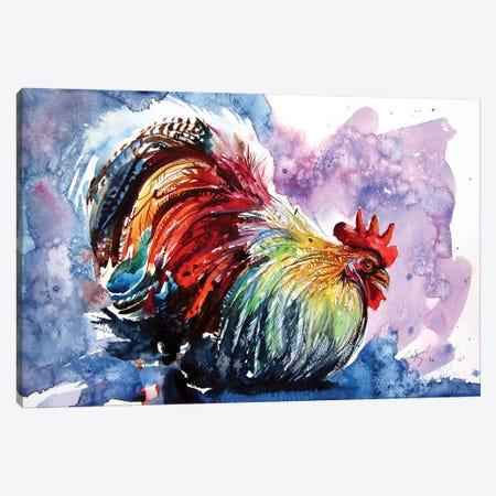 Colorful Rooster Canvas Print #AKV140} by Anna Brigitta Kovacs Art Print