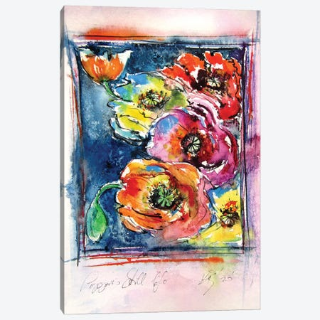 Still Life Poppies Canvas Print #AKV146} by Anna Brigitta Kovacs Canvas Art