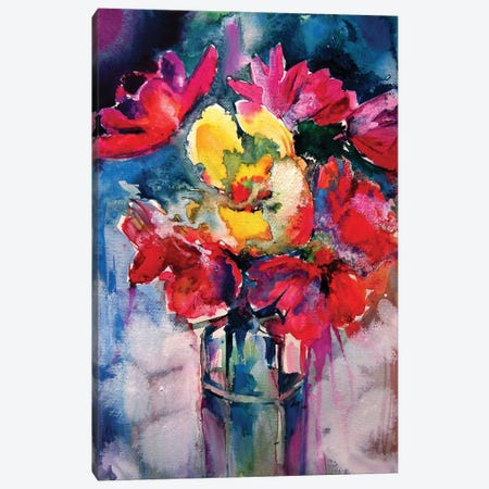 Still Life With Spring Flowers Canvas Print #AKV148} by Anna Brigitta Kovacs Canvas Print