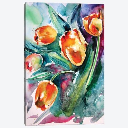 Yellow Tulips Canvas Print #AKV149} by Anna Brigitta Kovacs Canvas Art Print