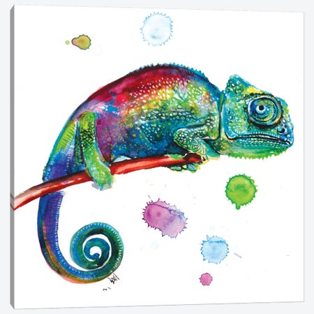 Chameleon 3-Piece Canvas #AKV158} by Anna Brigitta Kovacs Canvas Artwork