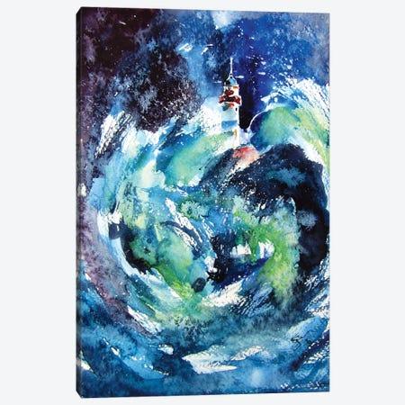 Lighthouse At Storm II Canvas Print #AKV162} by Anna Brigitta Kovacs Canvas Print