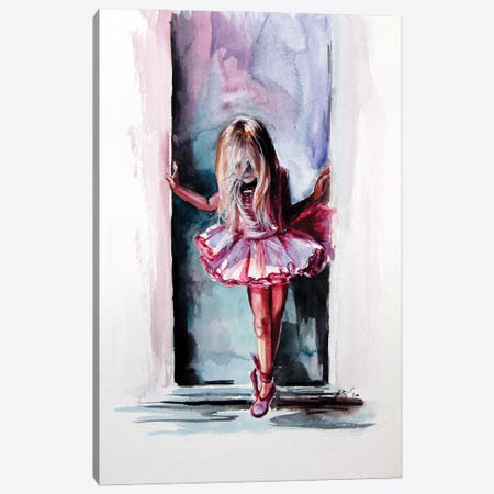 Little Ballerina Canvas Print #AKV165} by Anna Brigitta Kovacs Canvas Wall Art