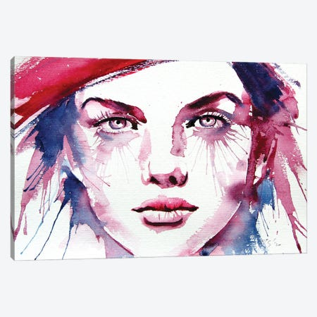 Girl With Red Hat Canvas Print #AKV169} by Anna Brigitta Kovacs Art Print