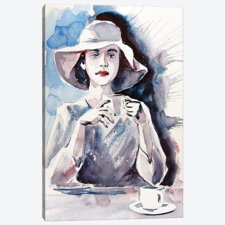 Girl With Coffee Canvas Print #AKV170} by Anna Brigitta Kovacs Canvas Wall Art