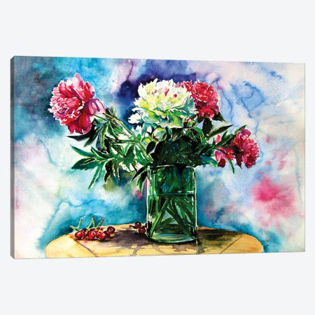 Still Life With Peony And Cherry Canvas Print #AKV174} by Anna Brigitta Kovacs Art Print