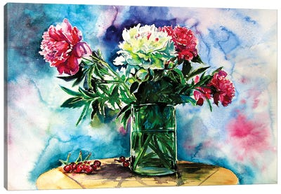 Still Life With Peony And Cherry Canvas Art Print