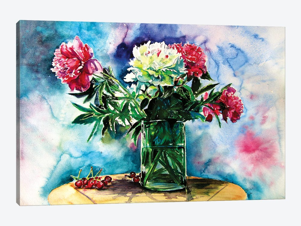 Still Life With Peony And Cherry 1-piece Canvas Artwork
