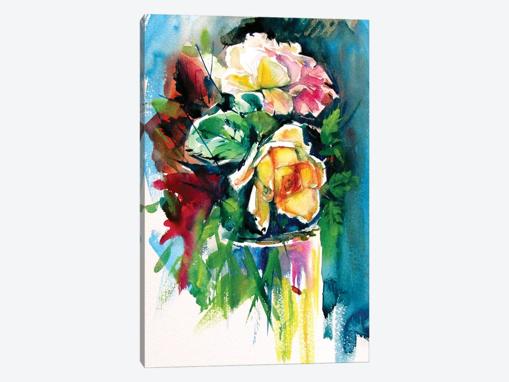Still Life With Roses by Anna Brigitta Kovacs 1-piece Canvas Print