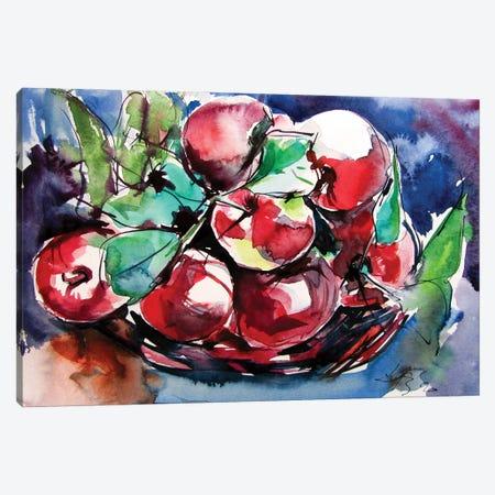 Apples On The Table Canvas Print #AKV186} by Anna Brigitta Kovacs Canvas Wall Art