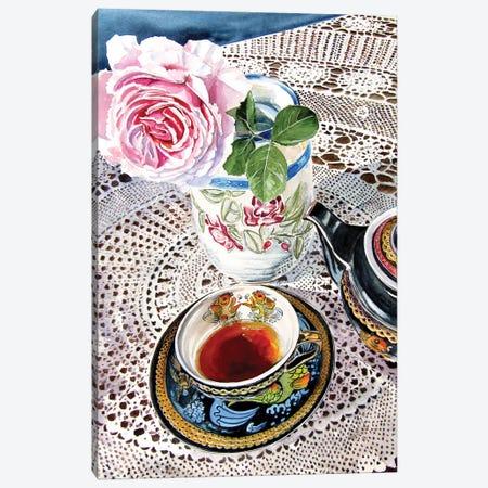 Still Life With Rose And Tea Set Canvas Print #AKV196} by Anna Brigitta Kovacs Art Print