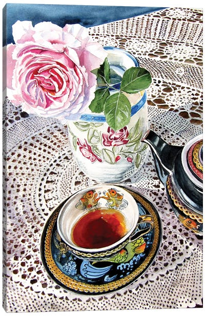 Still Life With Rose And Tea Set Canvas Art Print