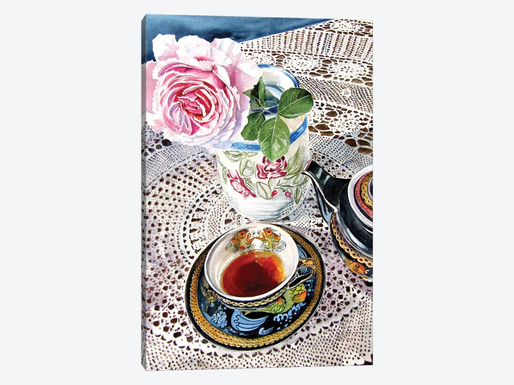 Still Life With Rose And Tea Set by Anna Brigitta Kovacs 1-piece Canvas Wall Art