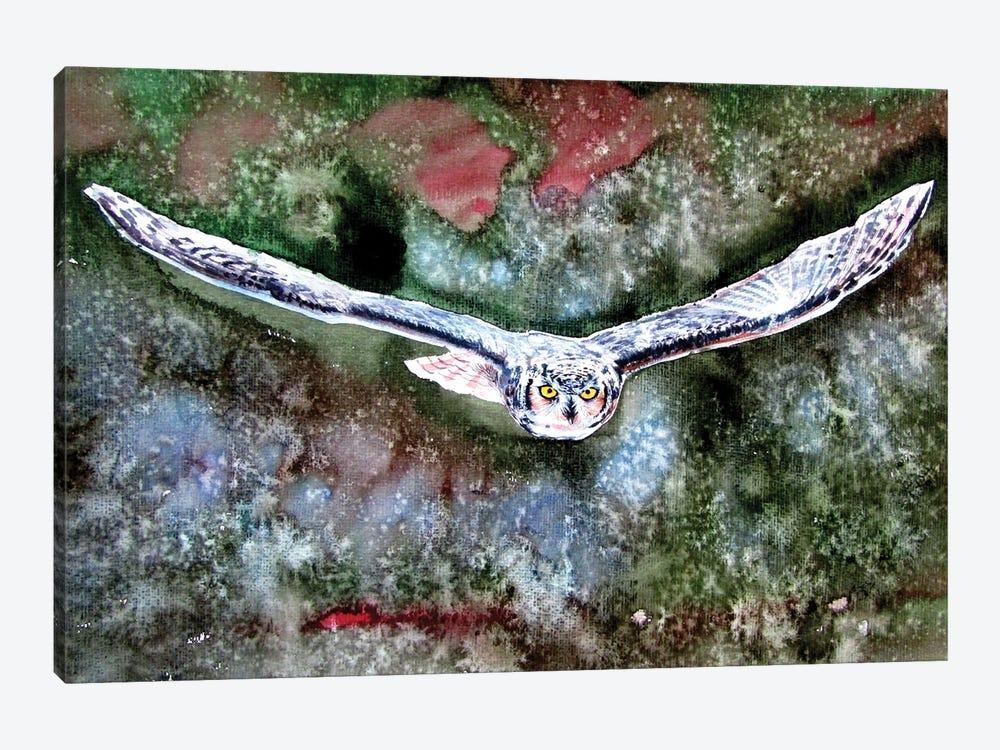 Flying Great Horned Owl by Anna Brigitta Kovacs 1-piece Canvas Print