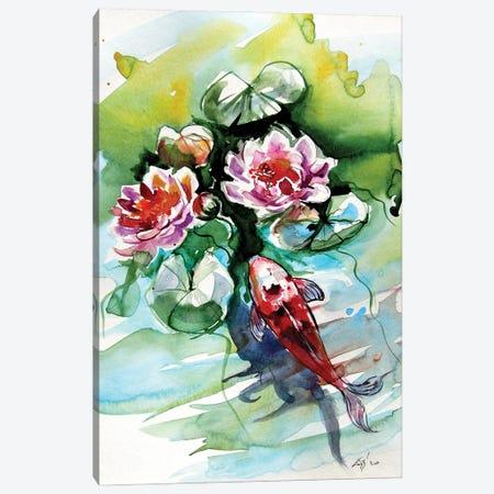 Fish with winter lily Canvas Print #AKV199} by Anna Brigitta Kovacs Canvas Artwork
