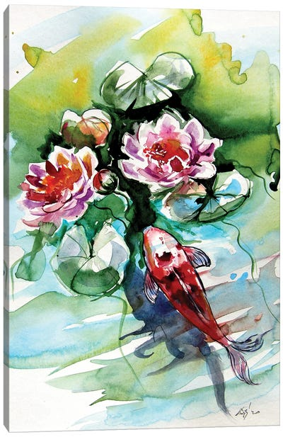 Fish with winter lily Canvas Art Print