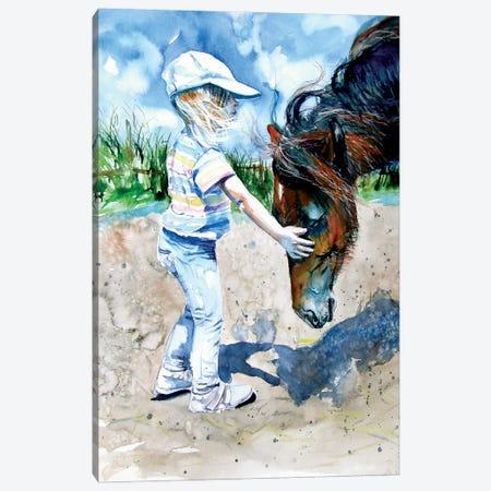 Girl With Horse Canvas Print #AKV207} by Anna Brigitta Kovacs Art Print