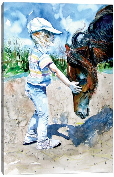 Girl With Horse Canvas Art Print