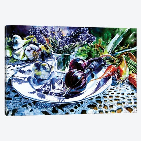 Still Life With Vegetables And Lavender Canvas Print #AKV208} by Anna Brigitta Kovacs Canvas Art