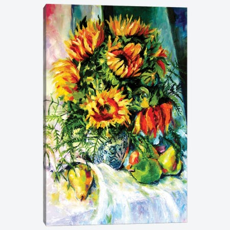 Stil Life With Sunflowers And Fruits Canvas Print #AKV213} by Anna Brigitta Kovacs Canvas Art Print