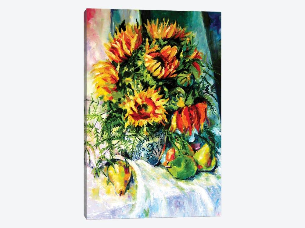 Stil Life With Sunflowers And Fruits by Anna Brigitta Kovacs 1-piece Art Print