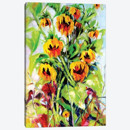 Some Sunflowers Canvas Print #AKV216} by Anna Brigitta Kovacs Canvas Wall Art